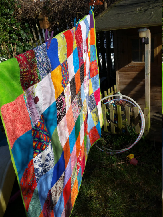 Rainbow patchwork drying in the sun